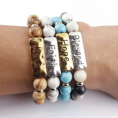 New Natural Stone Message Bracelet Inspiration Words Stretch Bracelets - Message Bracelets
