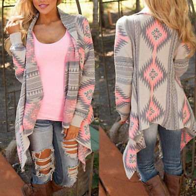 Women Cardigan Loose Sweater Long Sleeve Knitted Cardigan Outwear Jacket Coat @