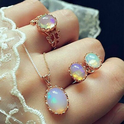 Fashion Women Moonstone Ring+Earrings+Necklace Rose Gold Chain Jewelry Set Gifts Necklace Earring Ring