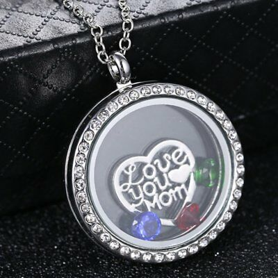 Charm Silver Crystal Floating Charms Locket Mom Mother Living Memory Necklace - Floating Charm Locket Necklace