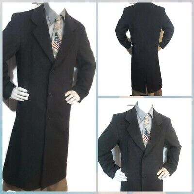 Mens Toscano Sz 38 Charcoal Black Wool Cashmere Top Over Dress Long Trench -