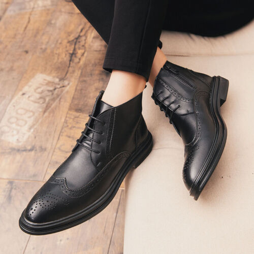 Men/'s casual Carved Ankle Boots Formal Dress Business Oxfords Slip On Boots 2019