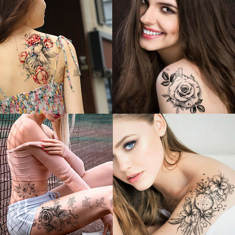 6pcs Temporary Tattoo Stickers Waterproof Arm Leg Body Art Colorful Rose Tattoos Health & Beauty