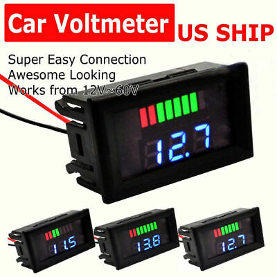 Dc 12v-60v Led Digital Voltage Volt Meter Display Voltmeter For Motorcycle Car