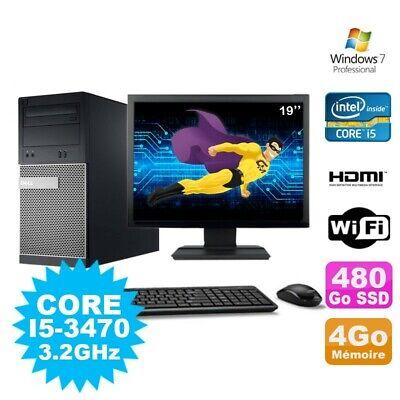 Lot PC Tour DELL 3010 MT I5-3470 Graveur 4Go 480Go SSD HDMI Wifi W7 + Ecran 19