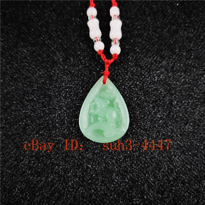 The Chinese Zodiac Natural Green Jade Pendant Necklace Jewelry Lucky Amulet