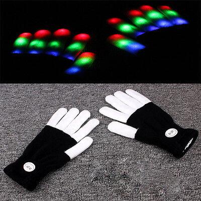 Rave Finger-lichter (Neu LED Rave Flashing Glow Gloves Light Up-Finger-Licht Schwarz Weiß Pro)