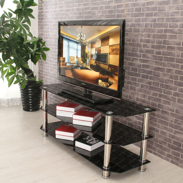 3-Tier TV Table Shelf Black Glass 120cm Width for 3D LCD LED Plasma TV Stand