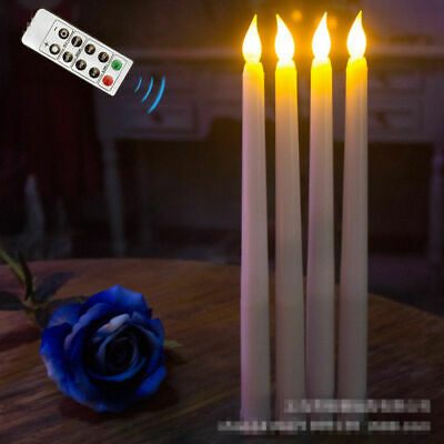 LED Battery Operated Flickering Taper Candles Tea Light Remote Control ABS Party (Battery Operated Taper Candles)