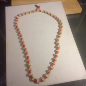 Vintage Shark's Vertebrae Necklace With Coral Beads