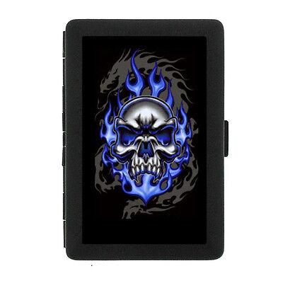 Black Metal Cigarette Case Holder Box Skull Design-015 Blue Skull On Fire