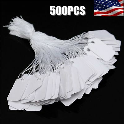 500 Pack Marking Price Tags Strung White Labeling Strings Sale Discount Storage