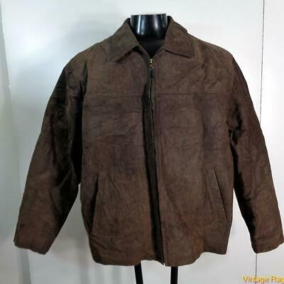 COLUMBIA Soft LEATHER JACKET Mens Size XL brown insulated zippered w/ liner