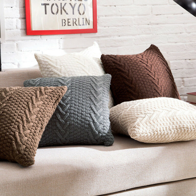 Fashion Knitting Throw Pillow Cases Cafe Sofa Cushion Cover