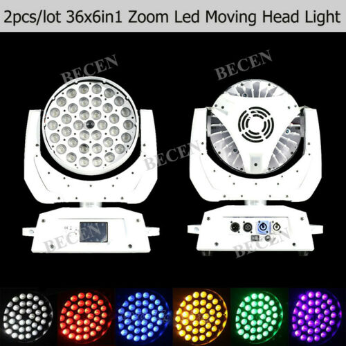 White 36X6in1 RGBWA UV Zoom Led Moving Head Light 10°-58° Wedding DJ Party 2pcs