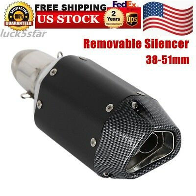ATV Short Exhaust Pipe Muffler Motorcycle Removable Silencer 38-51mm US HOT SALE