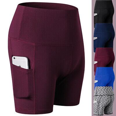 Damen Sporthose Shorts Leggings Lauf Fitnesshose Yoga Kurz Hose Reflexstreifen  - Yoga Shorts
