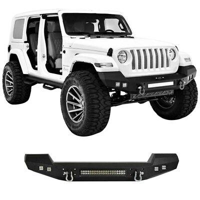 Hooke Road Textured Black Front Bumper w/ LED Lights Fit Jeep Wrangler JK 07-18 Bumper Black Jeep Wrangler