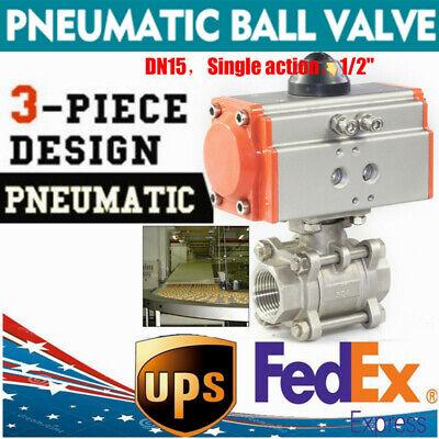 12 Pneumatic Ball Valve Single Acting 3 Pieces Ball Valve 304 Air Actuated