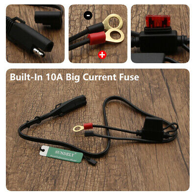 12V Battery Terminal Ring Connector Harness Charger Adapter Cable For Motorcycle