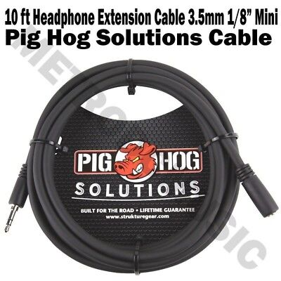 "Pig Hog 10 ft Headphone Extension Cable 3.5mm 1/8"" Stereo TRS Male Female Cord for sale  Shipping to India"