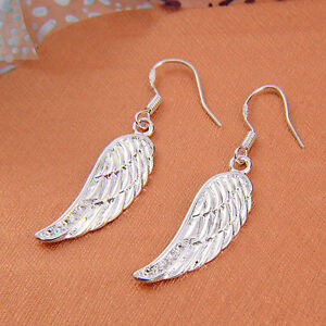 Pretty New 925 Sterling Silver Plated Angel Wing w/ CZ Accent Dangle Earrings