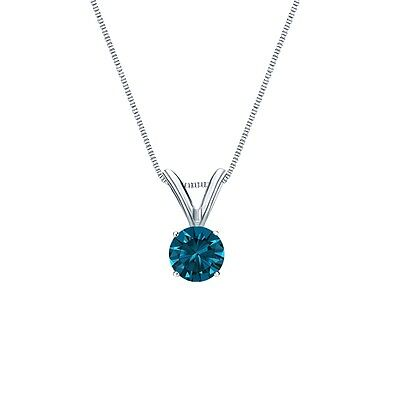 "1 Ct Round Cut Blue Solid 14k White Gold Solitaire Pendant 18"" Necklace"