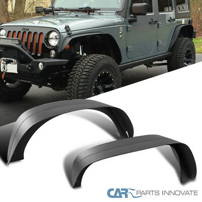 07-17 Jeep Wrangler JK Textured Black Steel Flat Fender Flares Wheel Cover 4PC