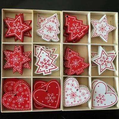 10Pcs/set 2Inch Wood Natural Christmas Hanging Ornaments Pendant Xmas Tree Decor ()