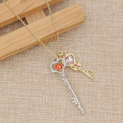 Moon Key - Sailor Moon Golden Silver Keys Pendant Metal Necklace Japanse Anime Cosplay