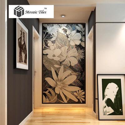 Mosaic Murals Black & White Flower Handcraft Unique Art Home Hotel Wall Deco