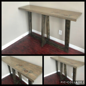 SOLID WOOD RECLAIMED COFFEE TABLE WITH MATCHING HALL TABLE