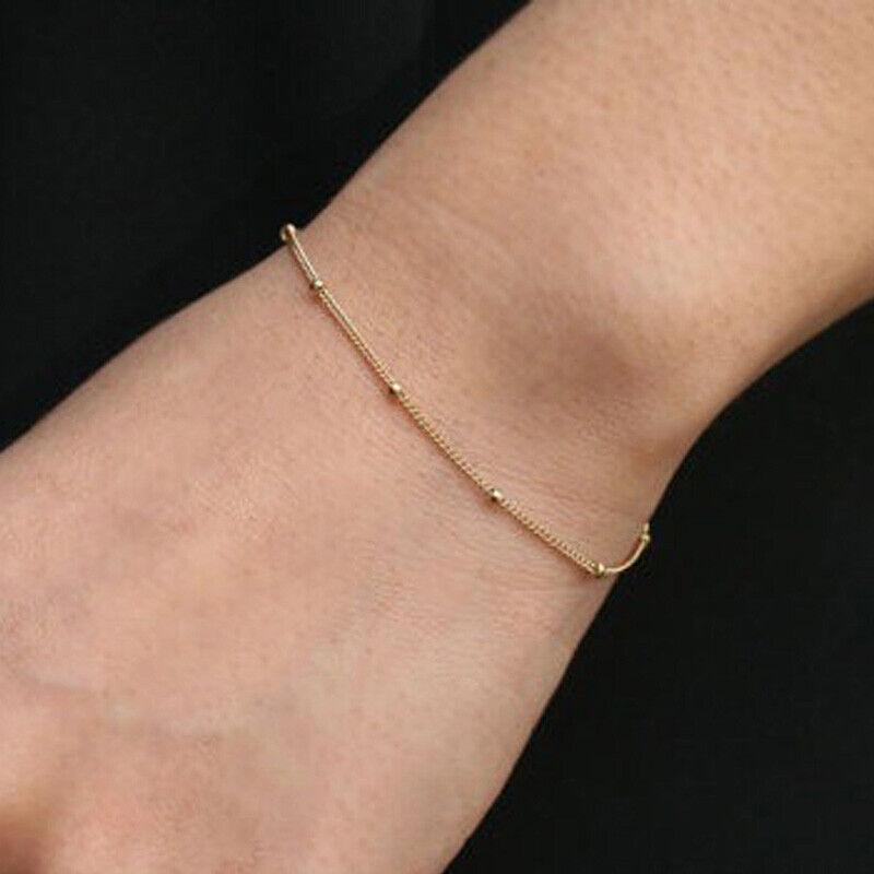 Gold Silber plattiert Damen Armband Kugel Perlen Armreif 16+5 cm Dehnbar Schmuck
