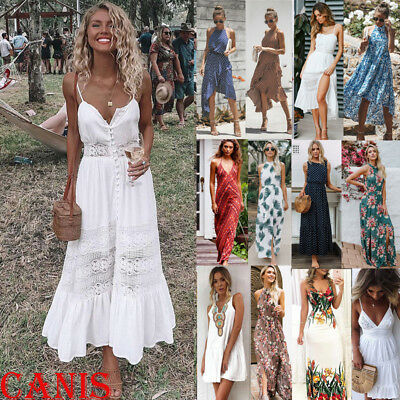 Summer Womens Boho Maxi Dress Lady Evening Cocktail Party Beach Dress Sundress - Ladies Clothing Dresses
