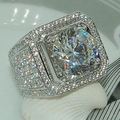 925 Silver Princess Cut White Sapphire Ring Wedding Engagement Jewelry Size 6-13 925 Silver Princess Sapphire