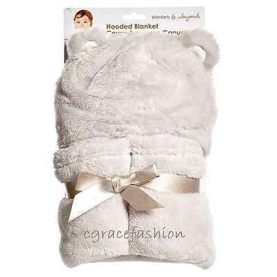 Blankets & and Beyond Baby Boy Girl Layette Hooded Teddy Bear Ears Plush Blanket