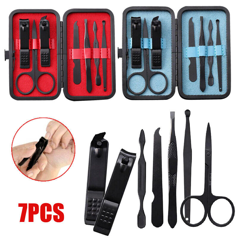7PCS/Set Acier Inox Les Ciseaux Pince à épiler Coupe-ongle Manucure Nail Clipper