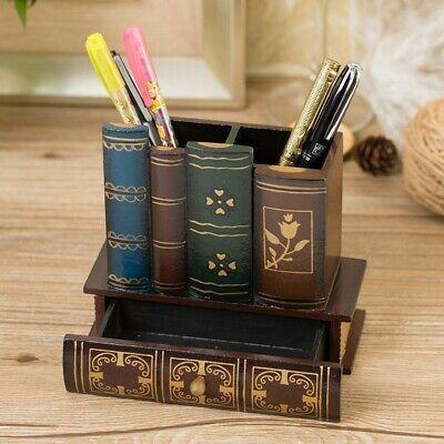 Vintage Home Office Storage Desk Organizer Simple Wooden Desktop Pen Holders