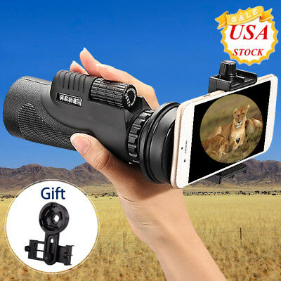 Monocular 12x50 Zoom Camera Lens Telescope &Tripod &Universal Clip For Cellphone