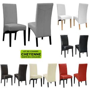 Chaise salle a manger salon cheyenne facon cuir bycast neuf lot de 2 ebay - Chaise en cuir a vendre ...