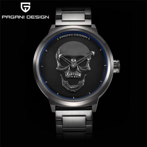 $53.99 - Luxury Mens PAGANI DESIGN Punk 3D Skull Quartz Solid Stainless Steel Wrist Watch