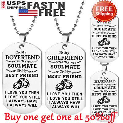 To Boyfriend Girlfriend Wife Husband Dog Tag Necklace Valentine's Day Xmas Gift ()