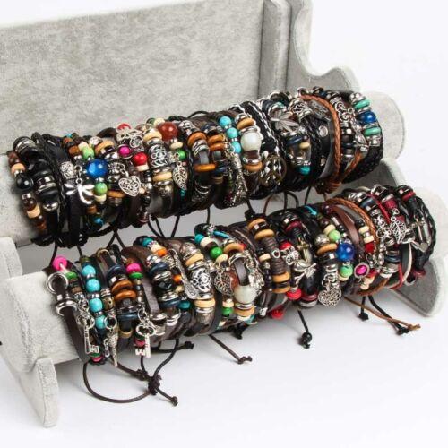 30pcs punk Charm leather Bracelets Wholesale Women men Fashion Bangle Wristbands