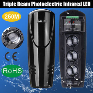 DC12-24V 250M Triple Beam Infrared LED Detector Security Tamper Alarm Home