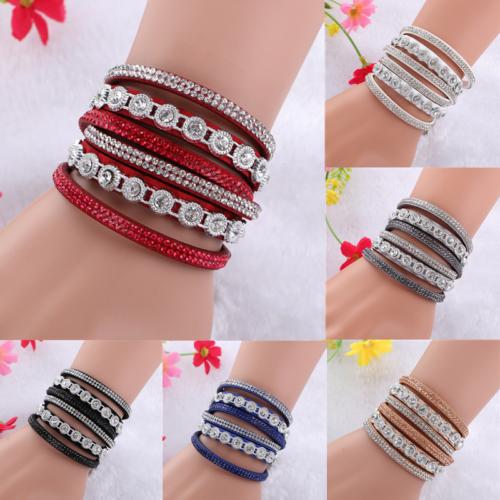 Fashion Crystal Rhinestone Wrap Leather Bracelet Multilayer Bracelet Bangle US