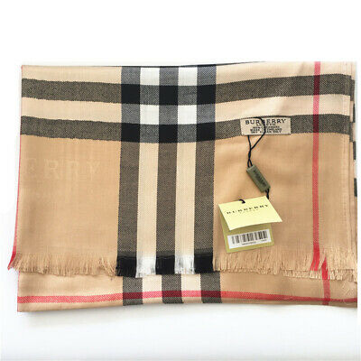 New authentic Burberry luxury womens cotton scarf brown color 180*65cm