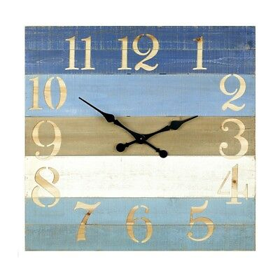 (Blue beach striped Wooden Clock Wall Mounted Clock Vintage Rustic style Large)