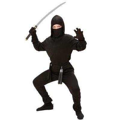 Black Ninja Fighter Kinder Kostüm - Jungen Verkleidung schwarz Kämpfer (Jungen Schwarzen Ninja Kostüm)
