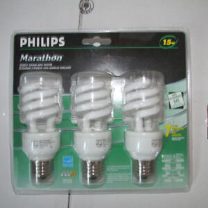 Philips 15 Watt Compact Fluorescent Light Bulbs