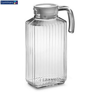 Luminarc Quadro Clear Glass Fridge Jug with White Lid 1.7L Kitchen New